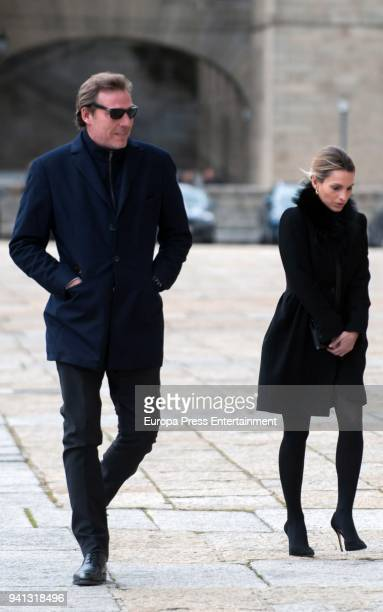 Beltran GomezAcebo Andrea Pascual attend the the mass to mark the 25th Anniversary of the Count of Barcelona's death the monastery of El Escorial on...