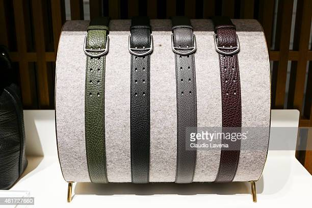Belts are dislpaied at Bally presentation during the Milan Menswear Fashion Week/Fall Winter 2015/2016 on January 18 2015 in Milan Italy
