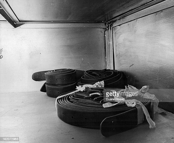 1966 JAN 31 1966 NOV 4 1966 NOV 5 1966 Belts Stored Awaiting Vote These leather belts are used to strap condemned