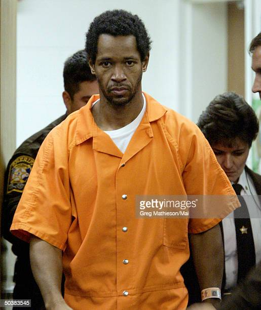 Beltway sniper suspect John Allen Muhammad arrives at Prince William County Circuit Court for hearing re. The Oct. 9 slaying of Dean Meyers.