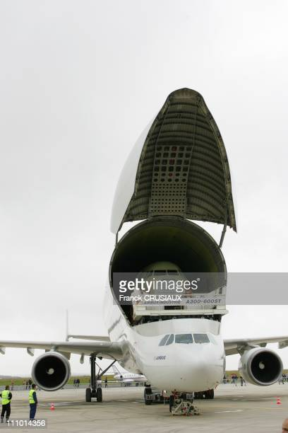 A beluga A300 amends for the transport of bulky cargo is placed on the runway at the airport of AlbertPicardie in Meaulte France on June 30th 2007...