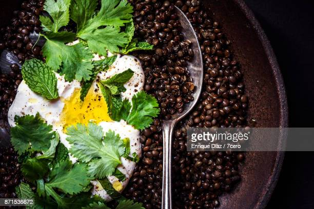 Beluga Lentils with Sour Cream, Mint and Coriander