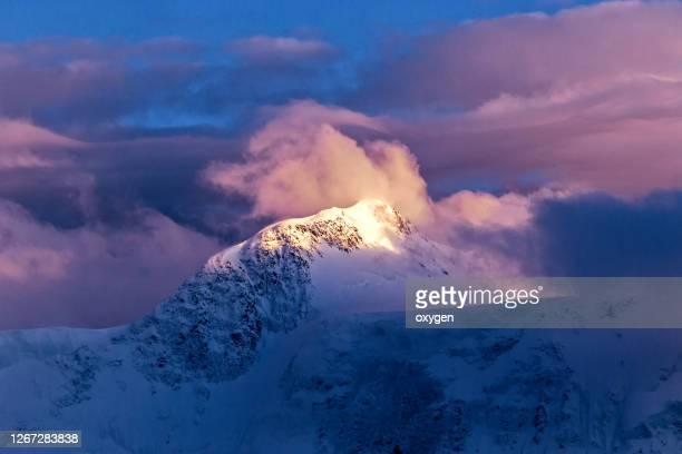 beluha mountain at sunset. altai highest peak of siberia landscape, russia - 冠雪 ストックフォトと画像