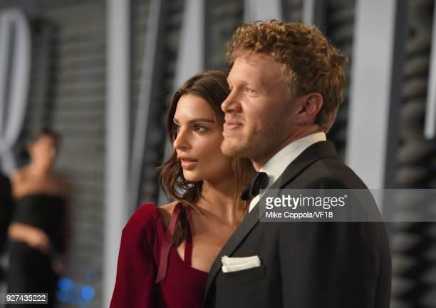 Belvedere Ambassador Emily Ratajkowski and Sebastian BearMcClard attend the 2018 Vanity Fair Oscar Party hosted by Radhika Jones at Wallis Annenberg...