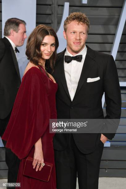 Belvedere Ambassador Emily Ratajkowski and Sebastian Bear-McClard attend the 2018 Vanity Fair Oscar Party hosted by Radhika Jones at Wallis Annenberg...