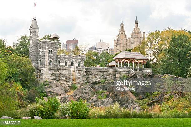 belvedere castle in autumn, central park, new york city. - terraced field stock pictures, royalty-free photos & images