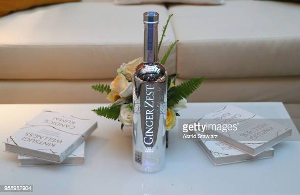 Belvedere Ginger Zest bottle and Candice Kumai's book 'Kintsugi Wellness' are seen as Belvedere Vodka celebrates newest expression Ginger Zest with...