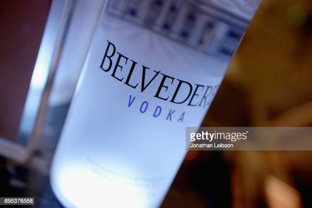 Belvedere on display during DuJour's Summer Issue Cover Party with Lily James presented by Belvedere Vodka at Beauty Essex on June 12 2017 in Los...