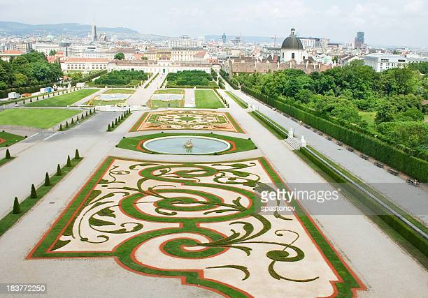 belvedere palace and its beautiful gardens - austria stock photos and pictures