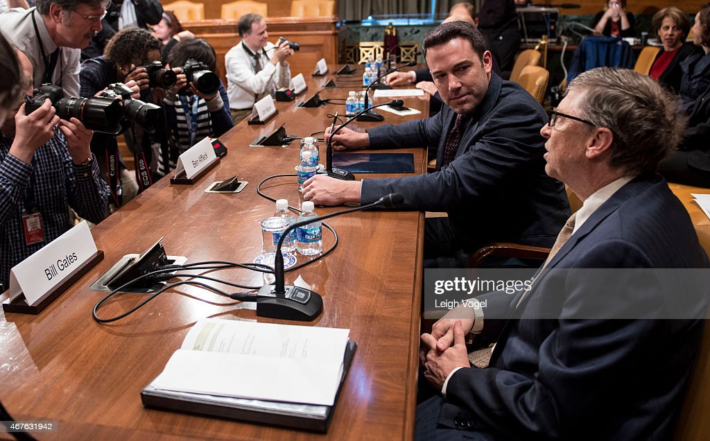 Ben Affleck and Bill Gates speak during the Diplomacy, Development, And National Security Hearing on March 26, 2015 in Washington, DC.