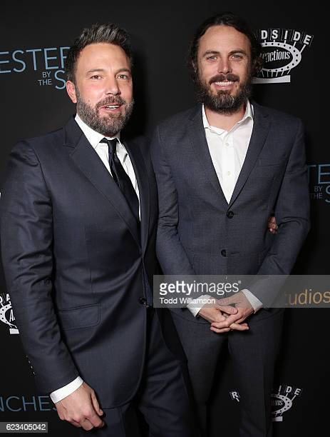 Ben Affleck and Casey Affleck attend the Manchester By The Sea Los Angeles Premiere at AMPAS Samuel Goldwyn Theater on November 14 2016 in Beverly...