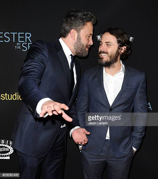 Ben Affleck and Casey Affleck attend the premiere of Manchester by the Sea at Samuel Goldwyn Theater on November 14 2016 in Beverly Hills California