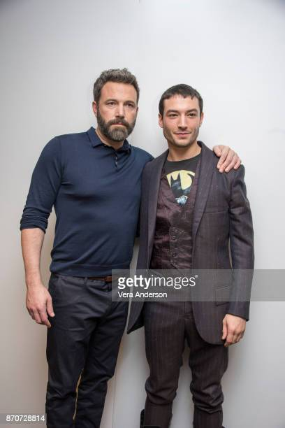 Ben Affleck and Ezra Miller at the 'Justice League' Press Conference at The Rosewood Hotel on November 4 2017 in London England
