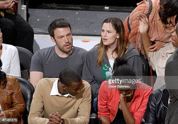 Ben Affleck and his wife Jennifer Garner attend Game Seven of the Eastern Conference Semifinals during the 2009 NBA Playoffs at TD Banknorth Garden...