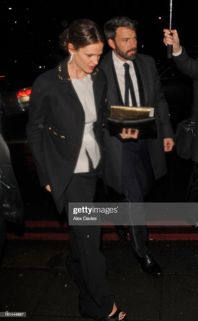 Ben Affleck and Jennifer Garner seen arriving at the official bafta party held at the Grosevenor House hotel on February 10, 2013 in London, England.