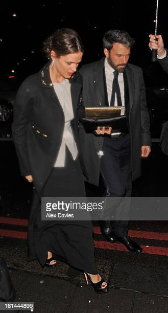 Ben Affleck and Jennifer Garner seen arriving at the official bafta party held at the Grosevenor House hotel on February 10 2013 in London England