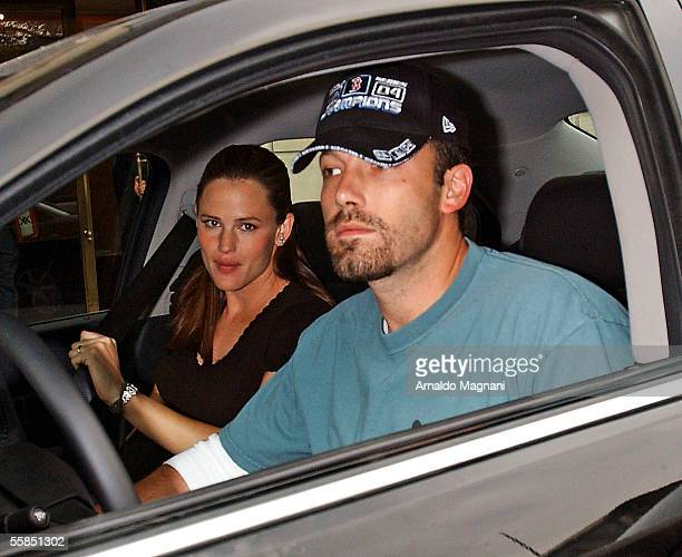 Ben Affleck and Jennifer Garner sit in a car in front of the Ritz Carlton October 4 2005 in New York City