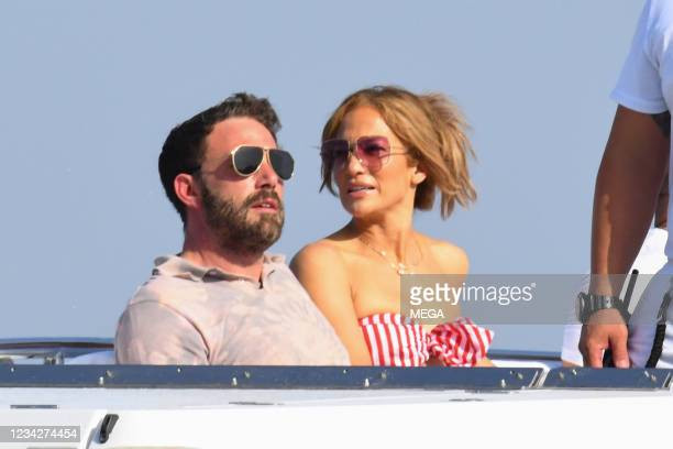 Ben Affleck and Jennifer Lopez are seen on July 28, 2021 in Amalfi, Italy.
