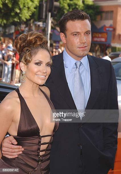 """Ben Affleck and Jennifer Lopez arriving at the premiere of """"Gigli""""."""
