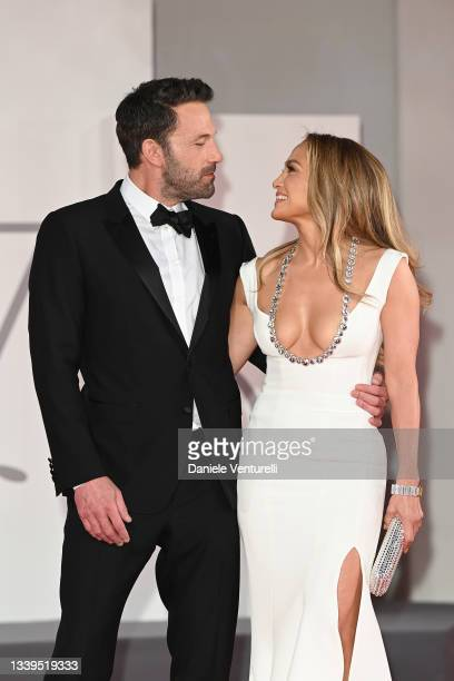 """Ben Affleck and Jennifer Lopez attend the red carpet of the movie """"The Last Duel"""" during the 78th Venice International Film Festival on September 10,..."""