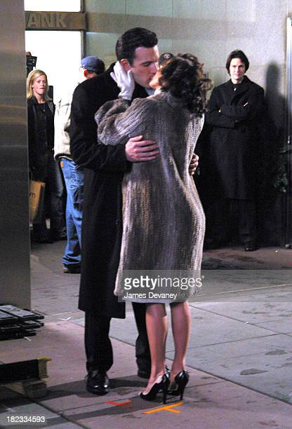 Ben Affleck and Jennifer Lopez during Jennifer Lopez and Ben Affleck On Location for Jersey Girl at Park Avenue and 55th Street in Manhattan in New...