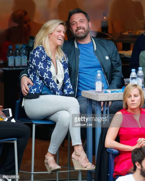 Ben Affleck and Lindsay Shookus attend the 2017 US Open Tennis Championships at Arthur Ashe Stadium on September 10 2017 in New York City