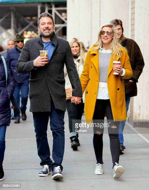 Ben Affleck and Lindsay Shookus enjoy coffee while holding hands on January 21 2018 in New York City