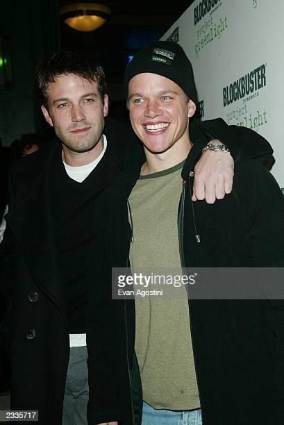 Ben Affleck and Matt Damon arriving at the Project Greenlight winners announcement party at the 2003 Sundance Film Festival in Park City Utah January...