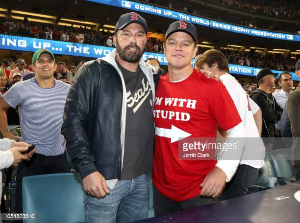 Ben Affleck and Matt Damon attend te 2018 World Series Boston Red Sox v Los Angeles Dodgers game five at Dodger Stadium on October 28, 2018 in Los...