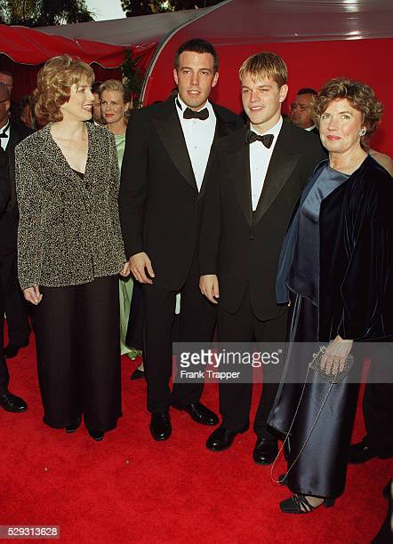 Ben Affleck and Matt Damon with their mothers Chris Affleck and Nancy Carlsson-Paige at the Shrine Auditorium.