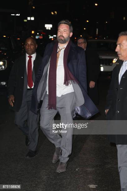 Ben Affleck departs Ed Sullivan Theater after his taping of 'The Late Show With Stephen Colbert 'on November 16 2017 in New York City