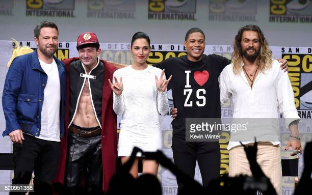 Ben Affleck Ezra Miller Gal Gadot Ray Fisher and Jason Momoa from 'Justice League' attend the Warner Bros Pictures Presentation during ComicCon...