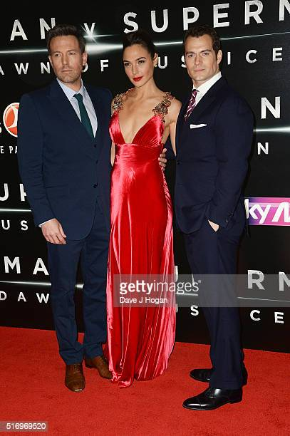 Ben Affleck Gal Gadot and Henry Cavill attend the European Premiere of 'Batman V Superman Dawn Of Justice' at Odeon Leicester Square on March 22 2016...
