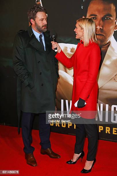 Ben Affleck is interviewed by Jenni Falconer attend the European Premiere of 'Live By Night' at BFI Southbank on January 11 2017 in London United...