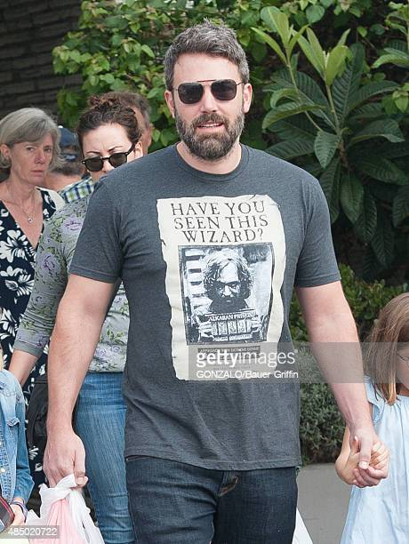 Ben Affleck is seen wearing a tshirt featuring the wanted poster for Sirius Black fetured in Harry Potter on August 23 2015 in Los Angeles California