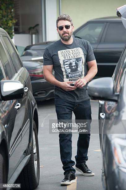 Ben Affleck is seen wearing a t-shirt featuring the wanted poster for Sirius Black fetured in Harry Potter on August 23, 2015 in Los Angeles,...