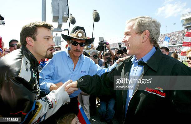 Ben Affleck NASCAR legend Richard Petty and President George W Bush during prerace introductions at the Daytona 500 at Daytona International Speedway...