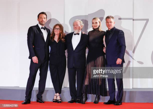 "Ben Affleck, Nicole Holofcener, Director Ridley Scott, Jodie Comer an Matt Damon attend the red carpet of 20th Century Studios' movie ""The Last Duel""..."