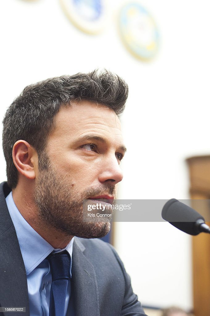 Ben Affleck speaks during a House Armed Services Committee hearing on the Evolving Security Situation in the Democratic Republic of the Congo and Implications for U.S. National Security at Rayburn House Office Building on December 19, 2012 in Washington, DC.