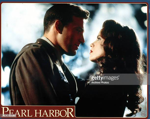 Ben Affleck stares at Kate Beckinsale in a scene from the film 'Pearl Harbor' 2001