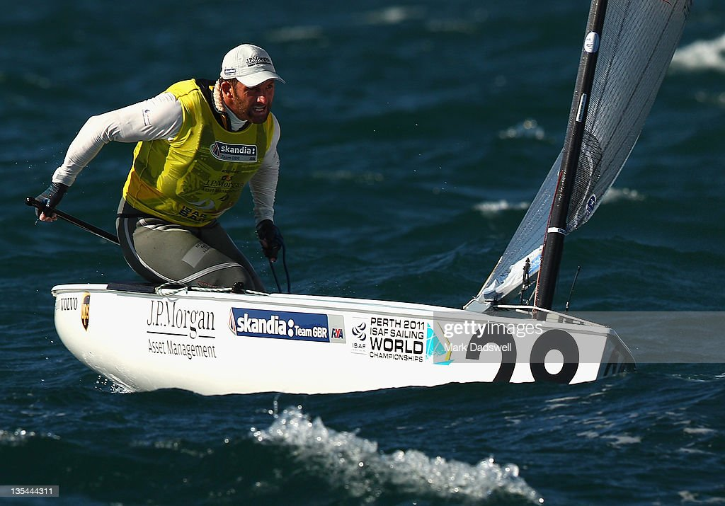 Ben Ainslie of Great Britain competes in the Finn Gold Fleet race on the Centre Course during day eight of the 2011 ISAF Sailing World Championships on December 10, 2011 in Perth, Australia.