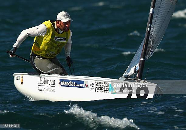 Ben Ainslie of Great Britain competes in the Finn Gold Fleet race on the Centre Course during day eight of the 2011 ISAF Sailing World Championships...