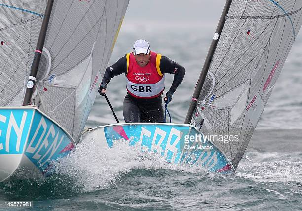Ben Ainslie of Great Britain competes in the Men's Finn Sailing on Day 4 of the London 2012 Olympic Games at Weymouth Harbour on July 31 2012 in...