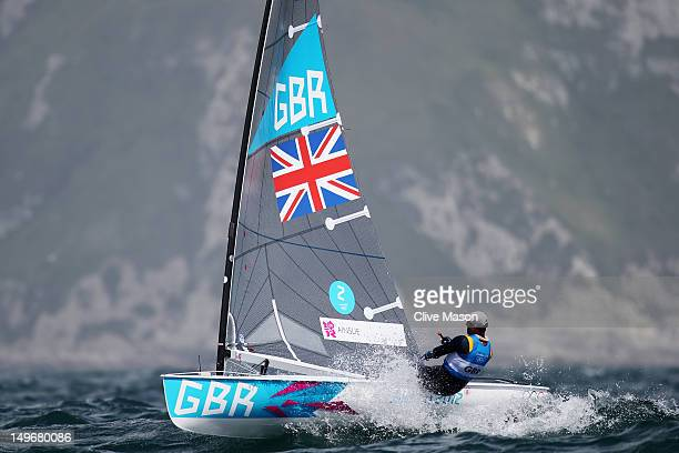 Ben Ainslie of Great Britain competes in the Men's Finn Sailing on Day 6 of the London 2012 Olympic Games at the Weymouth Portland Venue at Weymouth...