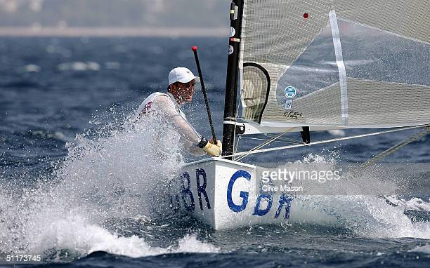 Ben Ainslie of Great Britain competes in the men's single handed dinghy finn race on August 15 2004 during the Athens 2004 Summer Olympic Games at...