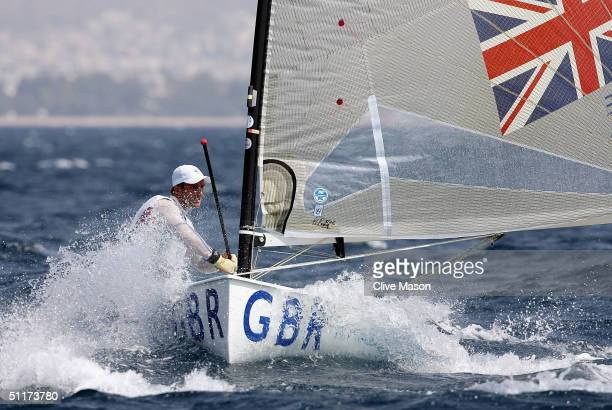 Ben Ainslie of Great Britain fights rough water in the men's single handed dinghy finn race on August 15 2004 during the Athens 2004 Summer Olympic...