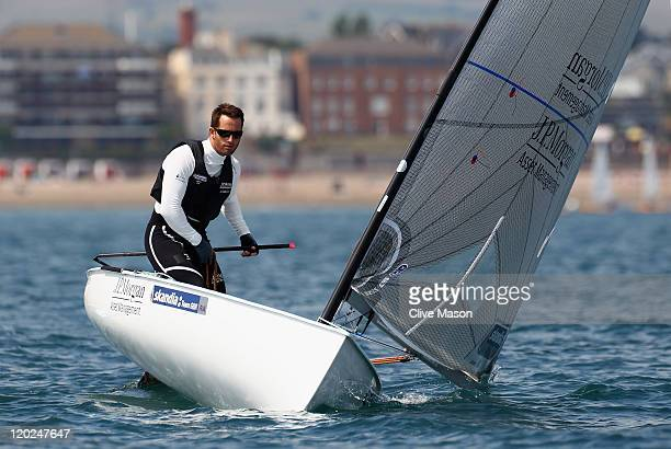 Ben Ainslie of Great Britain in action during a Finn Class practice race during day one of the Wemouth and Portland International Sailing Regatta at...