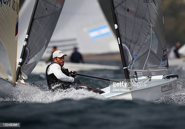 Ben Ainslie of Great Britain in action during a Finn Class race during day five of the Weymouth and Portland International Regatta at the Weymouth...