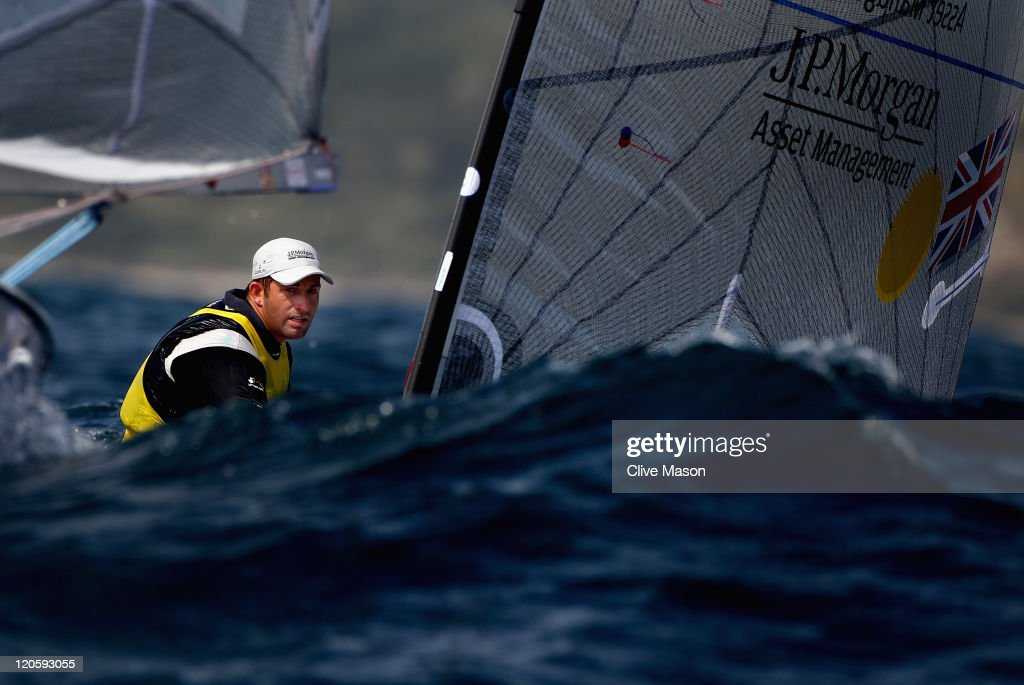 Ben Ainslie of Great Britain in action during a Finn Class race during day six of the Weymouth and Portland International Regatta at the Weymouth and Portland National Sailing Academy on August 7, 2011 in Weymouth, England.