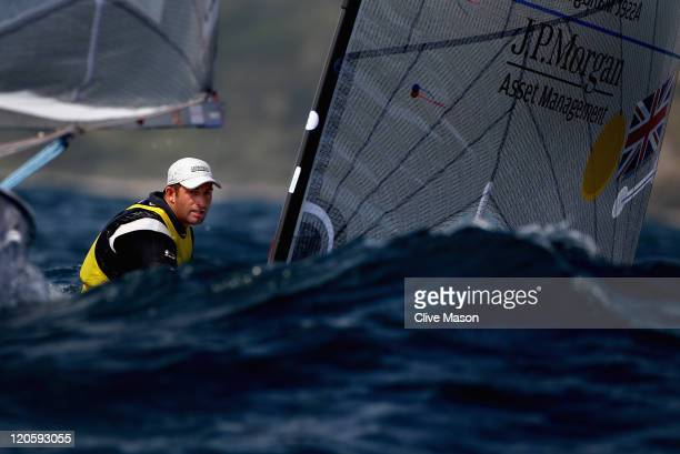 Ben Ainslie of Great Britain in action during a Finn Class race during day six of the Weymouth and Portland International Regatta at the Weymouth and...